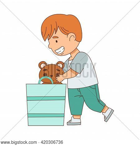 Happy Redhead Boy Playing Toys In The Nursery Vector Illustration