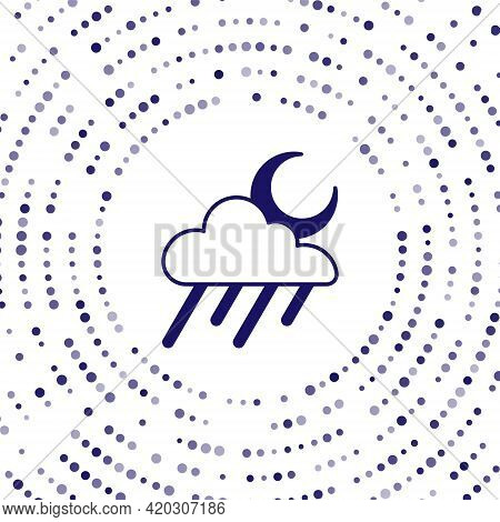 Blue Cloud With Rain And Moon Icon Isolated On White Background. Rain Cloud Precipitation With Rain
