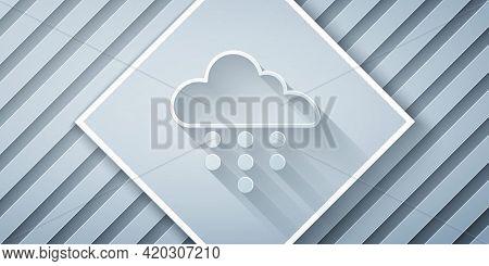 Paper Cut Cloud With Rain Icon Isolated On Grey Background. Rain Cloud Precipitation With Rain Drops