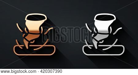 Gold And Silver Tornado Icon Isolated On Black Background. Cyclone, Whirlwind, Storm Funnel, Hurrica