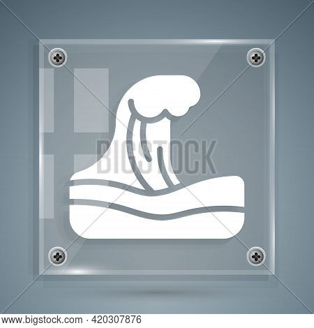 White Tsunami Icon Isolated On Grey Background. Flood Disaster. Stormy Weather By Seaside, Ocean Or