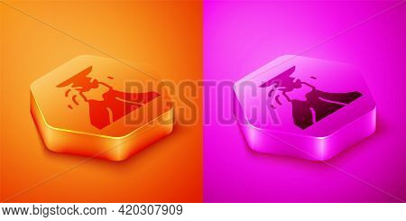 Isometric Volcano Eruption With Lava Icon Isolated On Orange And Pink Background. Hexagon Button. Ve