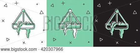 Set Plant In Hanging Pot Icon Isolated On White And Green, Black Background. Decorative Macrame Hand