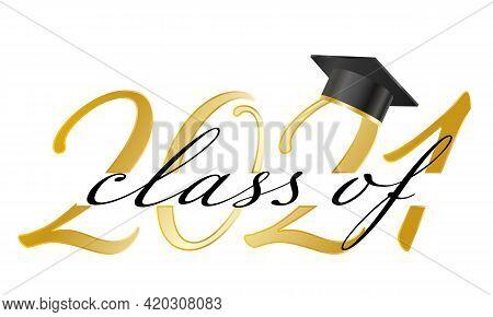 Congratulations Graduates Banner With Cap And Golden Calligraphy Numbers.congratulations Graduates T