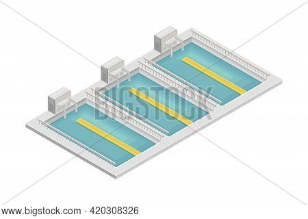 Water Purification Process With Sedimentation In Reservoir Or Basin Isometric Vector Illustration