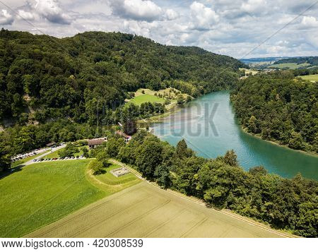 Toessegg, Switzerland - 21 June: Aerial Drone Image Of Rhine Sinuosity Or Loop At Toesegg With An An