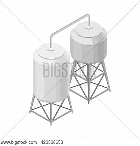 Water Purification Process With Filtration And Distillation In Cylindrical Tank Isometric Vector Ill