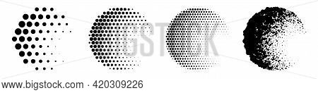 Circles With Halftone Pattern Set. Tone And Shape Gradation Of Black Dots Vector Illustration. Colle