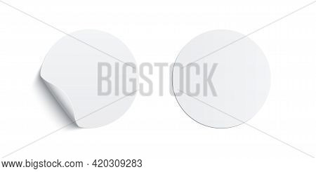 White Glued Round Stickers Curling Set. 3d Circular Shaped Blank Paper Labels Vector Illustration. W