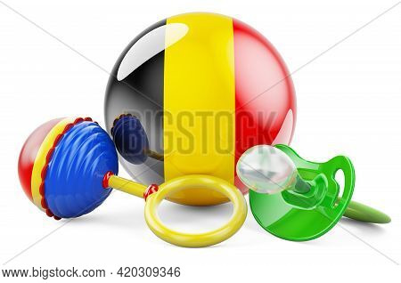 Birth Rate And Parenting In Belgium Concept. Baby Pacifier And Baby Rattle With Belgian Flag, 3d Ren