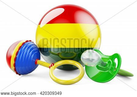 Birth Rate And Parenting In Bolivia Concept. Baby Pacifier And Baby Rattle With Bolivian Flag, 3d Re