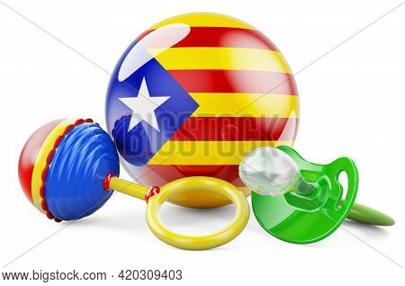 Birth Rate And Parenting In Catalonia Concept. Baby Pacifier And Baby Rattle With Catalan Flag, 3d R
