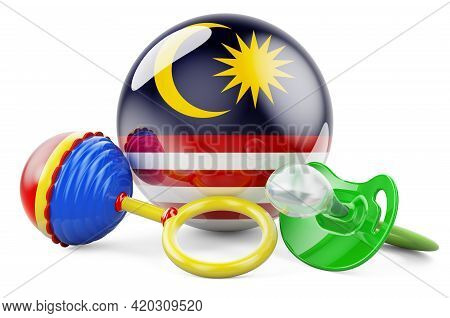 Birth Rate And Parenting In Malaysia Concept. Baby Pacifier And Baby Rattle With Malaysian Flag, 3d