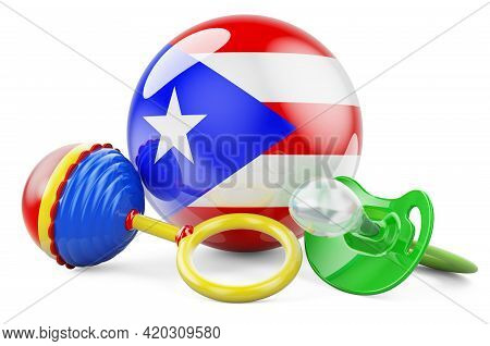 Birth Rate And Parenting In Puerto Rico Concept. Baby Pacifier And Baby Rattle With Puerto Rican Fla