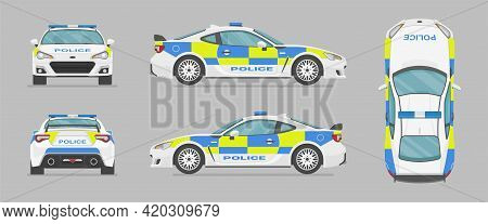 English Police Sport Car. Side View, Front View, Back View, Top View. Cartoon Flat Illustration, Aut