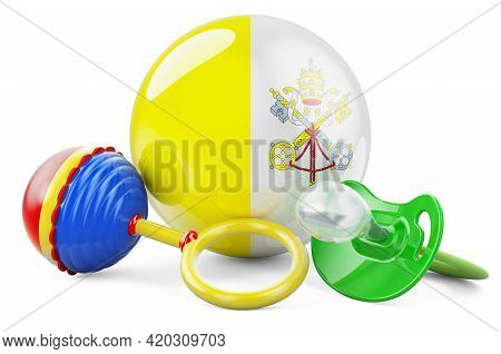 Birth Rate And Parenting In Vatican Concept. Baby Pacifier And Baby Rattle With Vatican Flag, 3d Ren