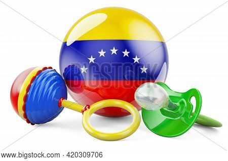 Birth Rate And Parenting In Venezuela Concept. Baby Pacifier And Baby Rattle With Venezuelan Flag, 3