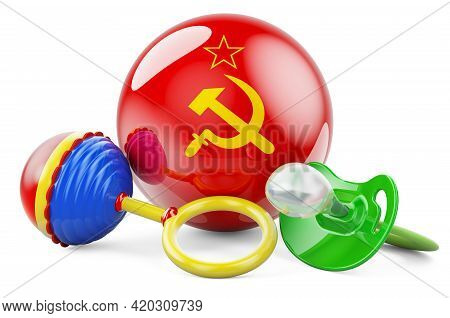 Ussr Flag With Pacifier And Baby Rattle. Made In Ussr, 3d Rendering Isolated On White Background