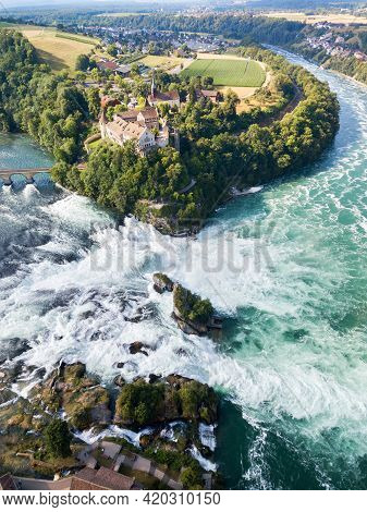 Aerial Photography With Drone Of Rhine Falls With Schloss Laufen Castle, Switzerland. Rhine Falls Is