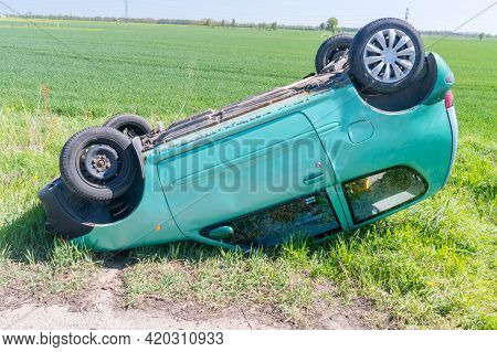 Grabowe Pole, Poland - May 12, 2021: Fiat Seicento S Car After Rollover Next To Road.