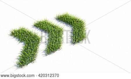 Concept or conceptual green summer lawn grass symbol shape isolated white background, dangerous turn road sign. 3d illustration metaphor for caution, warning, safety and guidance