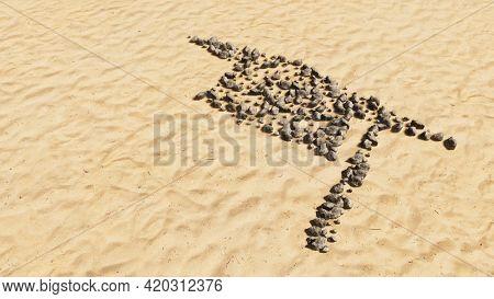 Concept conceptual stones on beach sand handmade symbol shape, golden sandy background, a graduate cap sign. A 3d illustration metaphor for academic achievement, success,  a future professional career