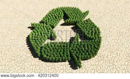 Concept or conceptual group of green forest tree on dry ground background,  recycle sign. 3d illustration metaphor for recycling, waste reduction, conservation and protection of the environment
