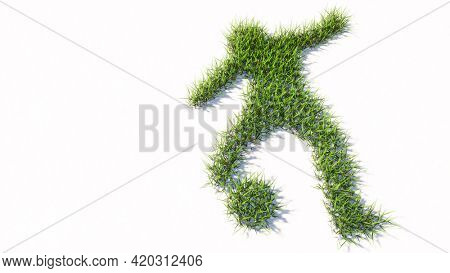 Concept or conceptual green summer lawn grass symbol shape isolated white background, sign of a football player. 3d illustration metaphor for sport, competition, training,  relaxation, family and fun