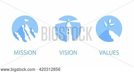Mission, Vision And Values Flat Style Design Icons Signs Web Concepts Vector Illustration Set Isolat