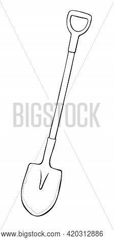 Vector Black Outline Of Garden Shovel, Spade, Scoop. Tools For Working On The Farm, In The Dacha, Co