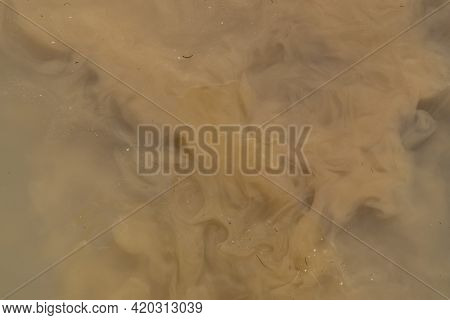 Abstract Brown Background, Pattern. Muddy Water, Dirty River Flow.