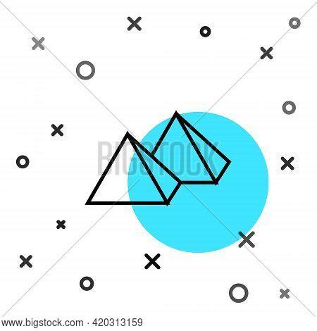 Black Line Egypt Pyramids Icon Isolated On White Background. Symbol Of Ancient Egypt. Random Dynamic