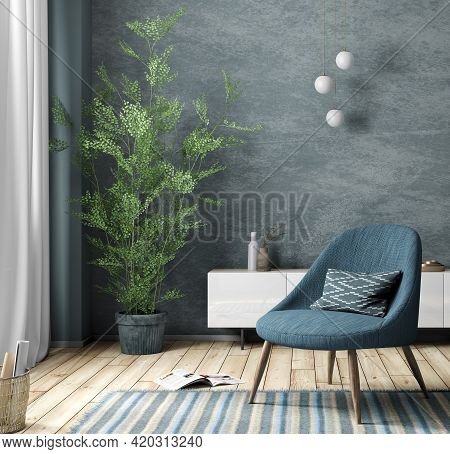 Blue Armchair Against Of White Dresser In Modern Living Room. Cozy Home Interior Design With Blue St