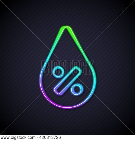 Glowing Neon Line Water Drop Percentage Icon Isolated On Black Background. Humidity Analysis. Vector
