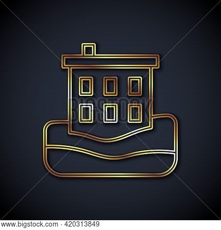 Gold Line House Flood Icon Isolated On Black Background. Home Flooding Under Water. Insurance Concep