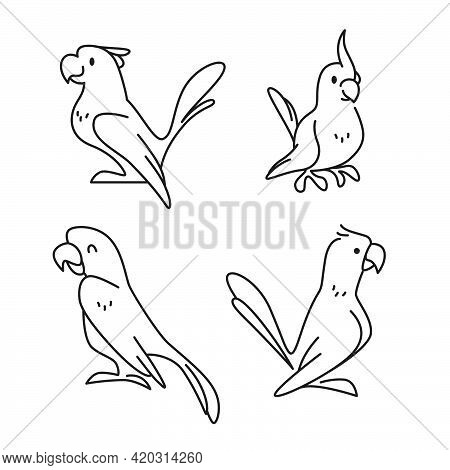 Collection Of Cute Funny Exotic Macaw And Ara Parrots Icons Isolated On White Background. Vector Fla