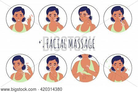 Facial Massage With Rose Quartz Roller Guide, Flat Vector Illustration. Face Skin Care Routine And B