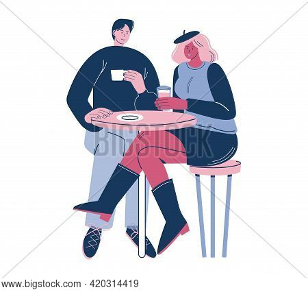 Happy Couple Colleagues, Friends Sitting At Table In Cafe, Enjoying Coffee Drink, Flat Vector Illust