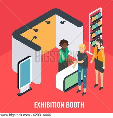 Exhibition Booth, Stand, Vector Isometric Illustration. Trade Show, Promotional Event With Sales Pro