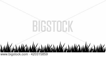 Vector Black Silhouette Of The Grass Isolated On White Background. Herbal Border, Horizontal Bottom