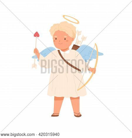 Cute Cupid Angel With Arch Bow And Arrow In Hands. Happy Little Child In Dress With Feathered Wings
