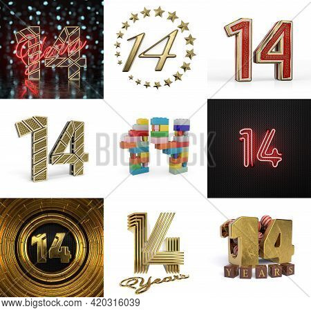 Set Of Fourteen Year Birthday. Number 14 Graphic Design Element. Anniversary Number Template Element