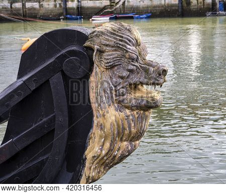 Bermeo, Spain - Sep 15, 2020: Decorative Figure Of A Lion On The Prow Of An Ancient Sailboat At Berm