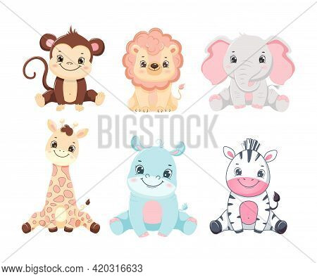 Collection Of Cute Cartoon Safari Animals Baby. Children Illustration.isolated On White Background