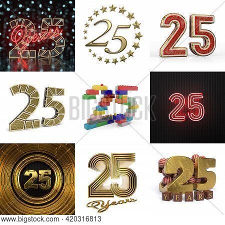 Set Of Twenty-five Year Birthday. Number 25 Graphic Design Element. Anniversary Number Template Elem