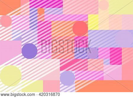 Geometric Abstract Horizontal Background With Simple Shapes, Bright Colors And Trendy Stripes. Vecto