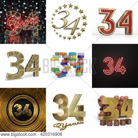 Set Of Thirty-four Year Birthday. Number 34 Graphic Design Element. Anniversary Number Template Elem