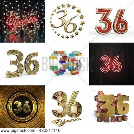 Set Of Thirty-six Year Birthday. Number 36 Graphic Design Element. Anniversary Number Template Eleme