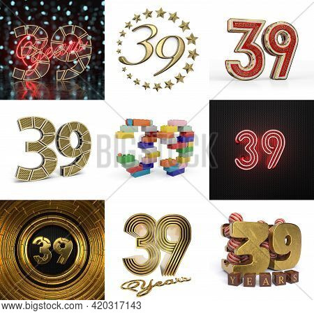 Set Of Thirty-nine Year Birthday. Number 39 Graphic Design Element. Anniversary Number Template Elem