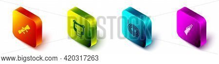 Set Isometric Sniper Optical Sight, Monkey, Climber Rope And Hunting Gun Icon. Vector